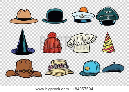 Hat set collection on isolated background. Comic book cartoon pop art retro style vector illustration