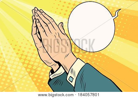 Men hands in prayer. Religion and faith. Comic book cartoon pop art retro style vector illustration