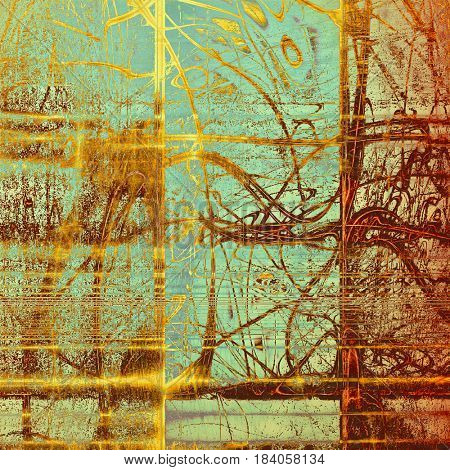 Old abstract texture used as shabby grungy background. With different color patterns: yellow (beige); brown; blue; red (orange); cyan