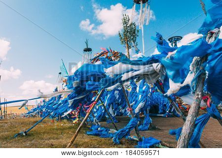 White And Blue Obo And Aobao Landscape In Mongolia ,mongol Totem, In Grassland With Blue Sky,horizon