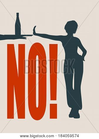 A young woman holding her hand in front to show stop gesture and rejects alcohol. No word. Vector illustration