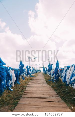White And Blue Obo And Aobao Landscape In Mongolia ,mongol Totem, In Grassland With Blue Sky,vertica