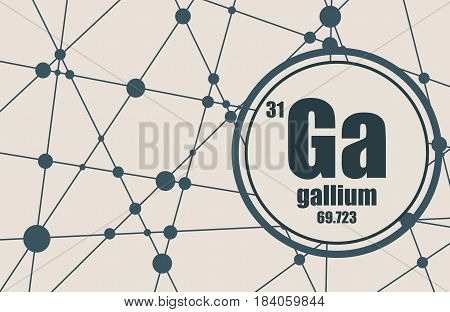 Gallium chemical element. Sign with atomic number and atomic weight. Chemical element of periodic table. Molecule And Communication Background. Connected lines with dots.