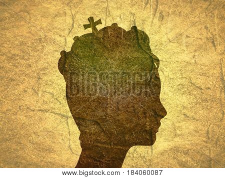 Profile of princess or queen.. Elegant silhouette of a female head. Illustration. Short hair. Monochrome gamma. Grunge texture
