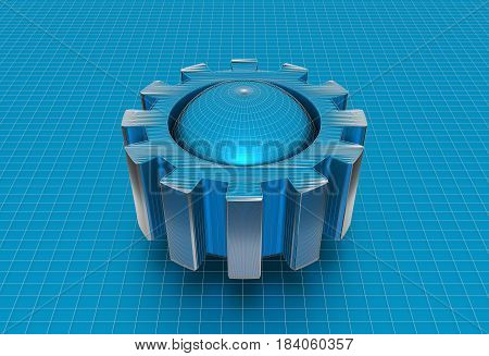Gear wheel isometric model. Background industrial design. Conceptual wire-frame illustration. 3D rendering. Blue sphere in the cog wheel