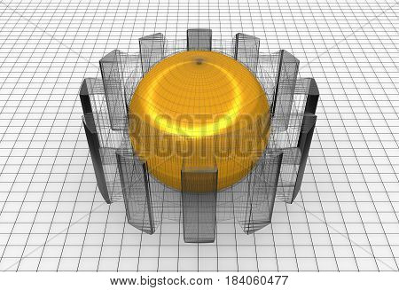 Gear wheel isometric model. Background industrial design. Conceptual wire-frame illustration. 3D rendering. Golden sphere in the cog wheel