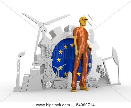 Young man wearing apron. Bearded worker at industrial isometric icons set with European Union flag. 3D rendering. Metallic material. Energy generation and heavy industry.