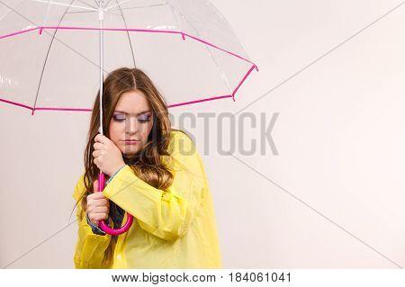 Woman Under Umbrella Looking Sad Unhappy