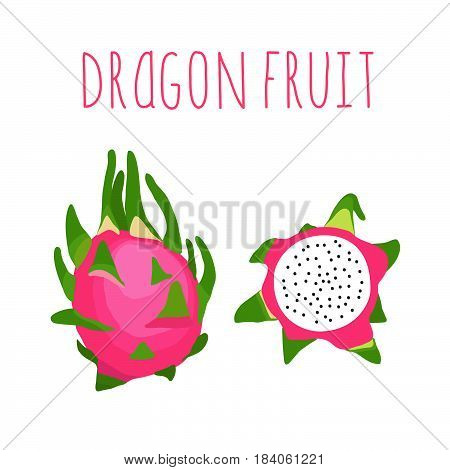 Dragon fruit with the inscription. Healthy lifestyle card. Eco friendly