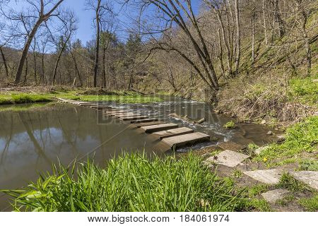 A river in the woods with concrete slab bridge.