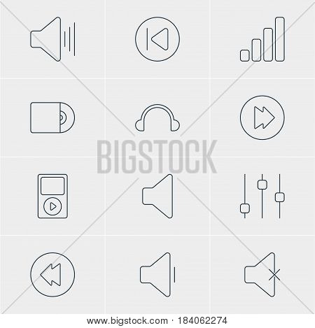 Vector Illustration Of 12 Music Icons. Editable Pack Of Mp3, Speaker, Soundless And Other Elements.