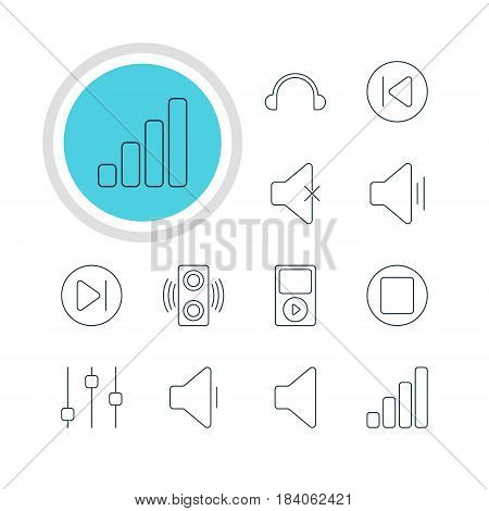 Vector Illustration Of 12 Melody Icons. Editable Pack Of Soundless, Earphone, Subsequent And Other Elements.