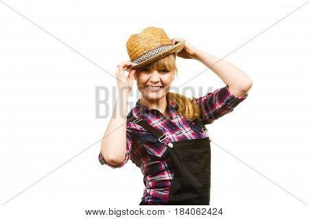 Woman Wearing Sun Hat Posing And Smiling