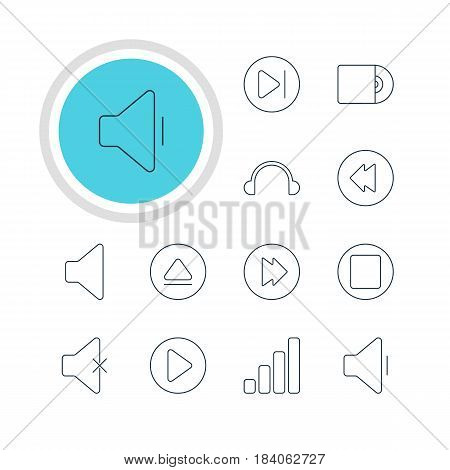 Vector Illustration Of 12 Melody Icons. Editable Pack Of Rewind, Pause, Compact Disk And Other Elements.
