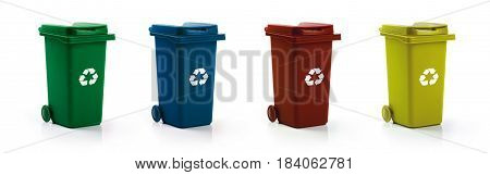 garbage recycling - recycle bins isolated on white background
