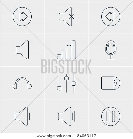Vector Illustration Of 12 Music Icons. Editable Pack Of Advanced, Speaker, Audio And Other Elements.