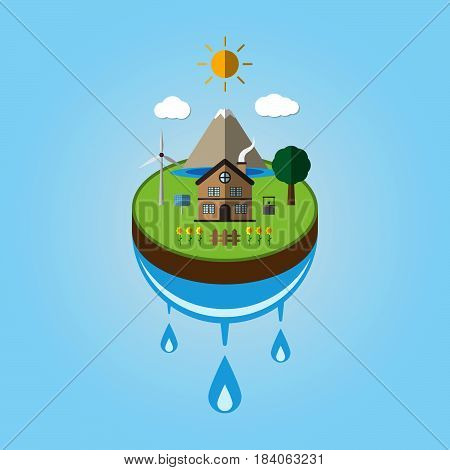 Paper cut art of ecology go green environment save earth concept vector illustration