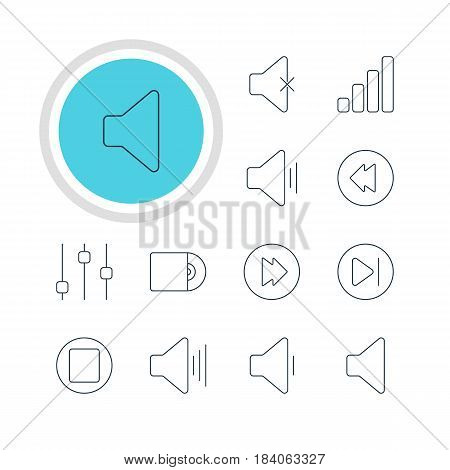 Vector Illustration Of 12 Melody Icons. Editable Pack Of Decrease Sound, Reversing, Speaker And Other Elements.