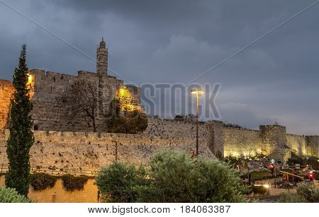View of the Tower of David in the evening, near the Jaffa Gate of the Old City of Jerusalem, Israel