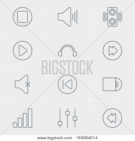 Vector Illustration Of 12 Melody Icons. Editable Pack Of Start, Earphone, Amplifier And Other Elements.