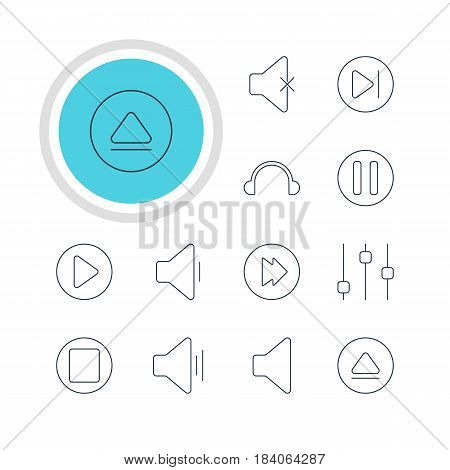 Vector Illustration Of 12 Melody Icons. Editable Pack Of Start, Advanced, Audio And Other Elements.