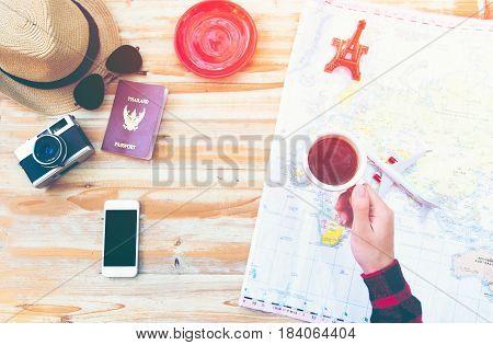 Travel planning concept on map, travel around world