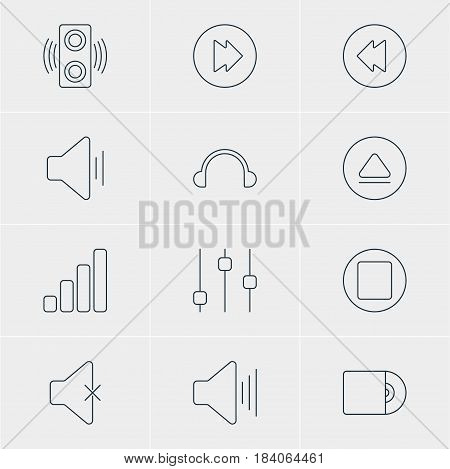 Vector Illustration Of 12 Melody Icons. Editable Pack Of Compact Disk, Soundless, Volume Up And Other Elements.