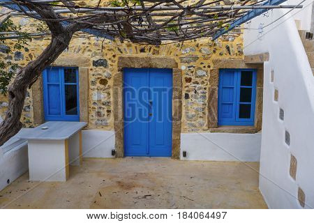 Traditional house in Agia Marina village on Leros island in Greece early in the morning.