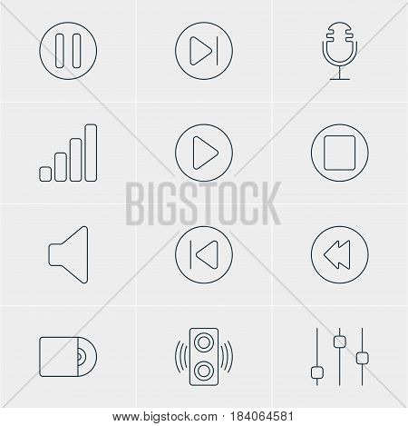 Vector Illustration Of 12 Melody Icons. Editable Pack Of Compact Disk, Lag, Pause And Other Elements.