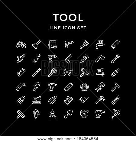 Set line icons of tool isolated on white. Vector illustration