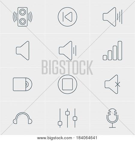 Vector Illustration Of 12 Melody Icons. Editable Pack Of Compact Disk, Earphone, Stabilizer And Other Elements.