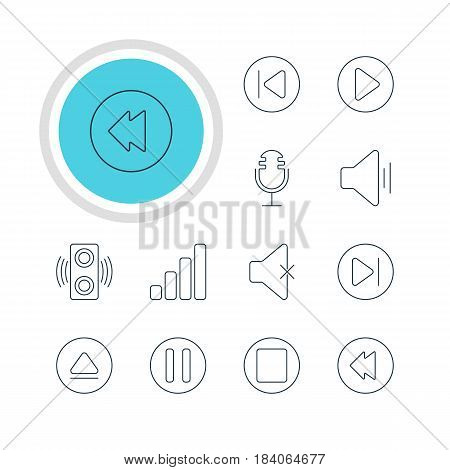 Vector Illustration Of 12 Melody Icons. Editable Pack Of Amplifier, Audio, Soundless And Other Elements.