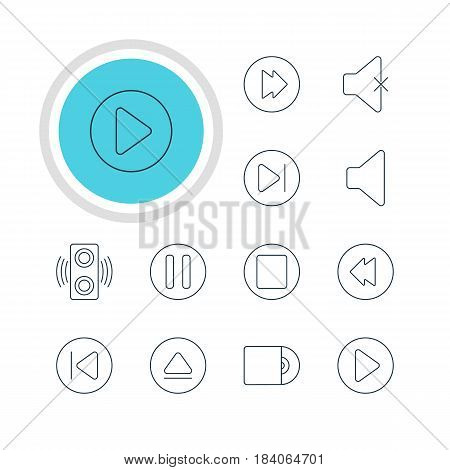 Vector Illustration Of 12 Music Icons. Editable Pack Of Pause, Preceding, Rewind And Other Elements.