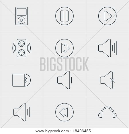 Vector Illustration Of 12 Music Icons. Editable Pack Of Earphone, Advanced, Volume Up And Other Elements.