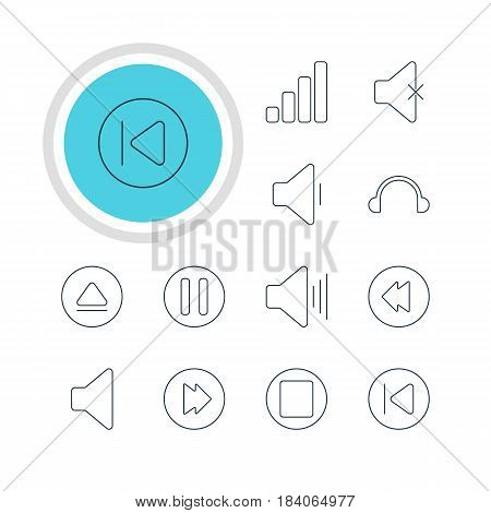 Vector Illustration Of 12 Music Icons. Editable Pack Of Speaker, Soundless, Preceding And Other Elements.