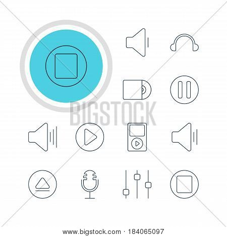Vector Illustration Of 12 Music Icons. Editable Pack Of Decrease Sound, Mike, Rewind And Other Elements.
