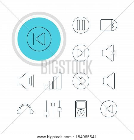 Vector Illustration Of 12 Melody Icons. Editable Pack Of Lag, Stabilizer, Mp3 And Other Elements.