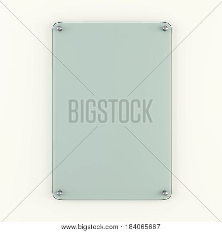 Glass plate fastened to wall with metal rivets. 3D Illustration. Template for your design
