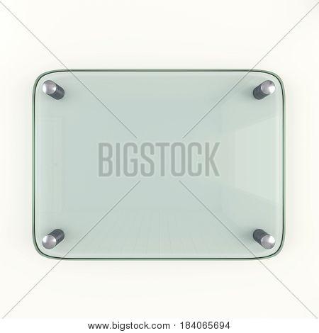 Glass plate mockup. 3d illustration. Wide-angle lens type