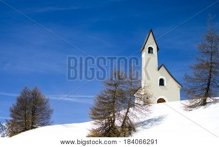 Italy Dolomites Gardena Pass the St. Maurizio little church
