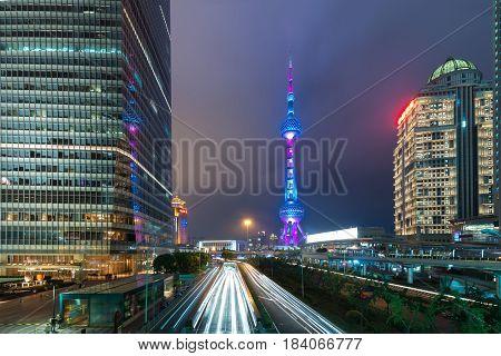 Shanghai skyscraper in Lujiazui Shanghai financial district in Shanghai China.