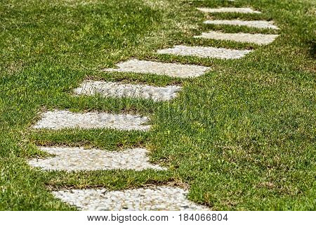 Stony path on green grass. Closeup. Grass road