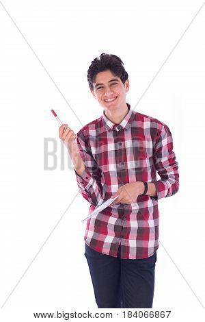 Portrait of smiley happy friendly young student holding notebook and pen teenager wearing red shirt and jeans isolated on white background