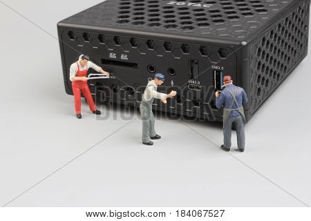 Mini Figure With Technology Macro Photo