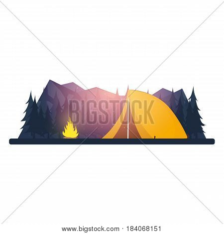 Summer Camp. Evening Camp, Pine Forest And Rocky Mountains. Sunset In The Mountains. Climbing, Trekk