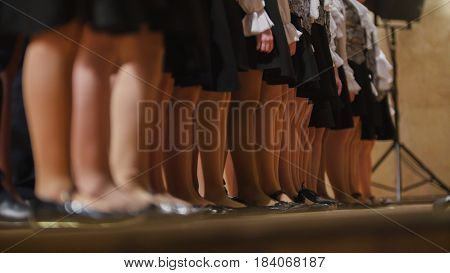 Children girls choir - rehearsal of Academic Song, telephoto