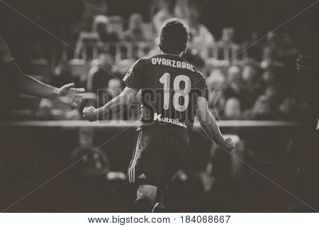 VALENCIA, SPAIN - APRIL 26: Oyarzabal celebrates a goal during La Liga match between Valencia CF and Real Sociedad at Mestalla Stadium on April 26, 2017 in Valencia, Spain