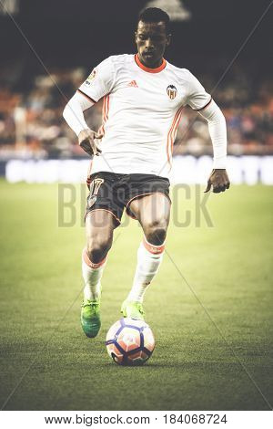 VALENCIA, SPAIN - APRIL 26: Nani during La Liga match between Valencia CF and Real Sociedad at Mestalla Stadium on April 26, 2017 in Valencia, Spain