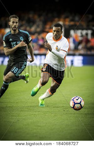 VALENCIA, SPAIN - APRIL 26: Nani with ball during La Liga match between Valencia CF and Real Sociedad at Mestalla Stadium on April 26, 2017 in Valencia, Spain