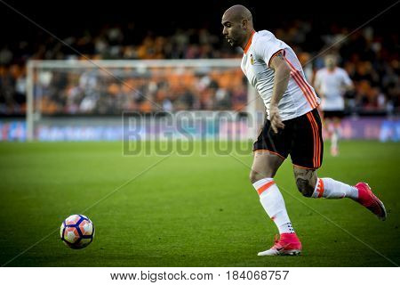 VALENCIA, SPAIN - APRIL 26: Simone Zaza during La Liga match between Valencia CF and Real Sociedad at Mestalla Stadium on April 26, 2017 in Valencia, Spain
